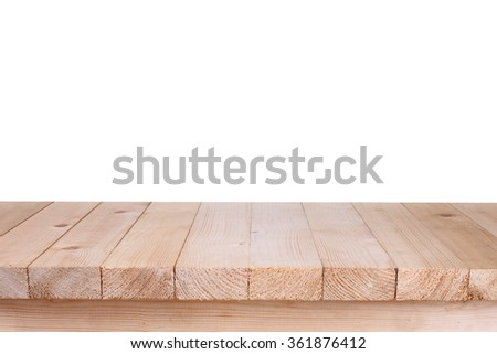 Wood table top on white background #361876412