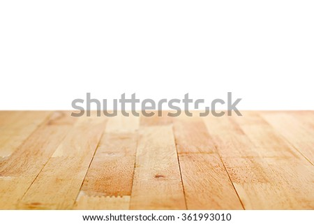 Wood table top on white background  - can be used for display or montage your products #361993010