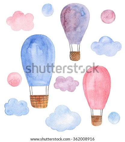 Air balloon pink and blue clip art. Watercolor travel isolated