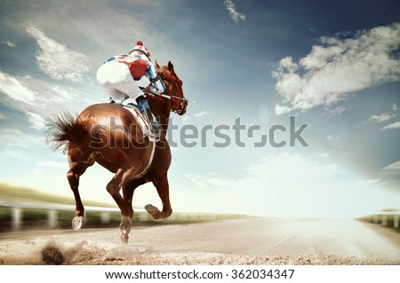 racing horse coming first to finish line in vintage style Royalty-Free Stock Photo #362034347