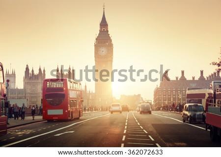 Westminster Bridge at sunset, London, UK Royalty-Free Stock Photo #362072633