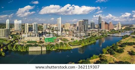 Aerial skyline shot of Austin, Texas