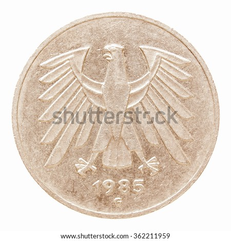 Vintage German coin isolated over a white background vintage #362211959