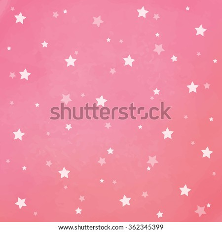 White stars on pink watercolor background. Background texture.