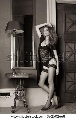 Woman in underwear at interior #362502668