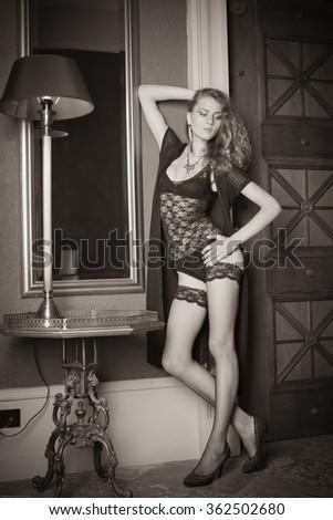 Woman in underwear at interior #362502680