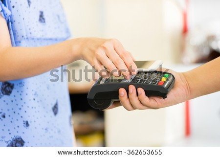 paying through smartphone using NFC technology #362653655