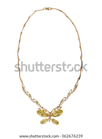 gold necklace isolated on white background #362676239