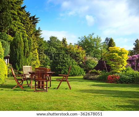 English garden in summer #362678051