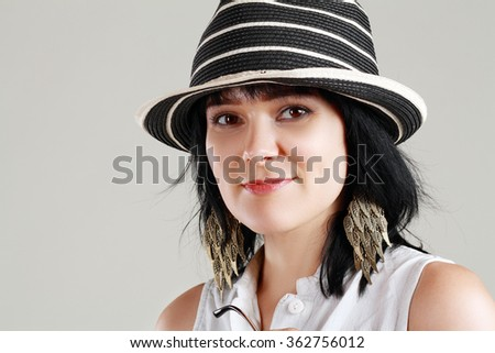 close up woman portrati over gray backround with hat #362756012