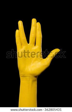Vulcan salute, Yellow skin