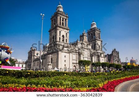 Exterior Metropolitan Cathedral in Mexico City, Latin America. Royalty-Free Stock Photo #363042839