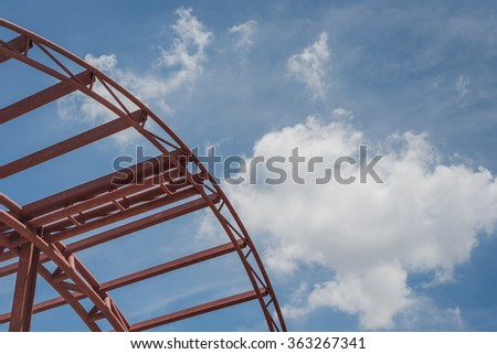 modern building with steel frame structure in construction site #363267341