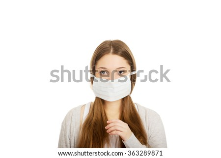 Teen woman with protective mask. #363289871