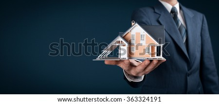 Real estate agent offer house represented by model. Wide banner composition.