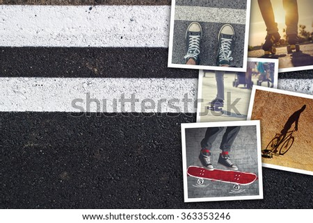 Youth lifestyle collage, snapshot photos of young urban people enjoying life on asphalt sidewalk background as copy space. #363353246