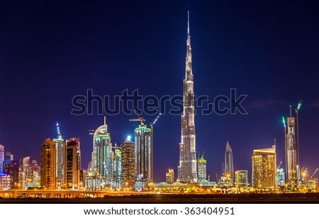 Night view of Dubai Downtown with Burj Khalifa Royalty-Free Stock Photo #363404951