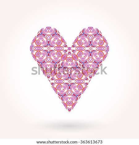 Valentine's Day greeting card. Modern ornamented flat styled heart with delicate shadow #363613673