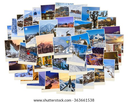 Stack of mountains ski Austria images - nature and sport background (my photos) #363661538