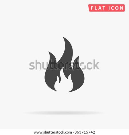 Fire Icon. Flat black pictogram. Illustration symbol.