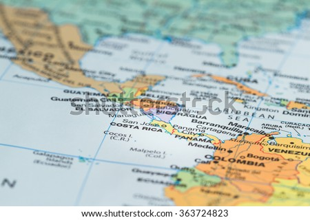 close up of the central america area with Costa Rica in sharp focus Royalty-Free Stock Photo #363724823