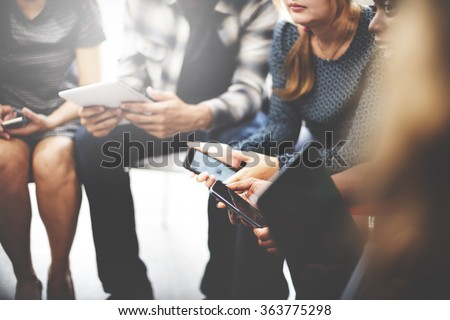 Business Team Digital Device Technology Connecting Concept Royalty-Free Stock Photo #363775298