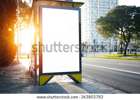 Blank lightbox on the bus stop. Horizontal. Sunlights effects #363803783
