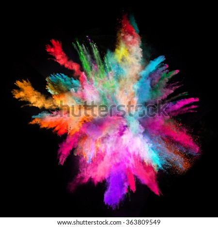 Explosion of colorful powder, isolated on black background #363809549