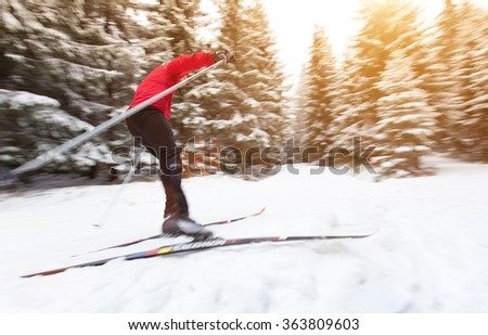 Young man cross-country skiing. Winter sport. #363809603