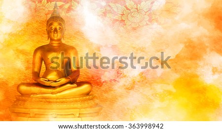 Buddha statue on grunge background.