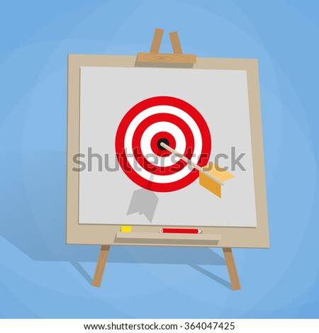 cartoon Flip chart with target and wrrow in center. vector illustration in flat design on blue background. Goal achievement concept.  #364047425