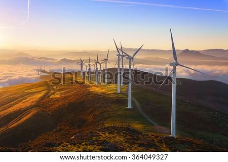 wind turbines in the Oiz eolic park Royalty-Free Stock Photo #364049327