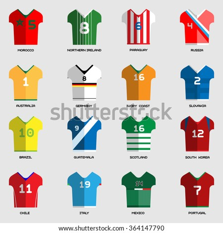 Football Soccer Team Wear. Soccer club t-shirt set. Sports infographic. Digital background raster illustration.