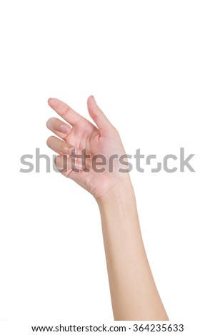Woman's hand holding something empty front side, isolated on white background. #364235633