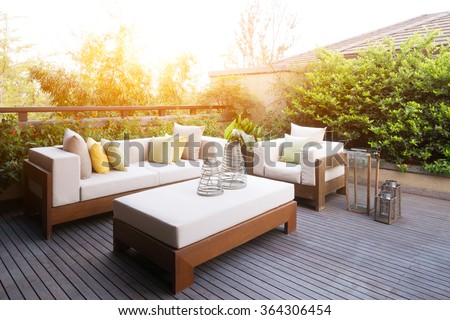 design and furniture in modern patio Royalty-Free Stock Photo #364306454