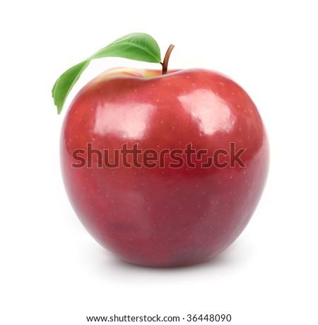 Apple isolated on white background ripe fresh fruit closeup  #36448090
