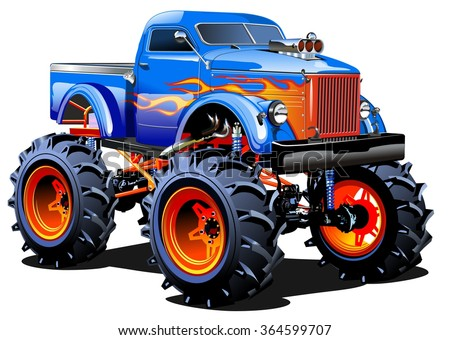 Vector Cartoon Monster Truck EPS-10 separated by groups and layers with transparency effects for one-click repaint