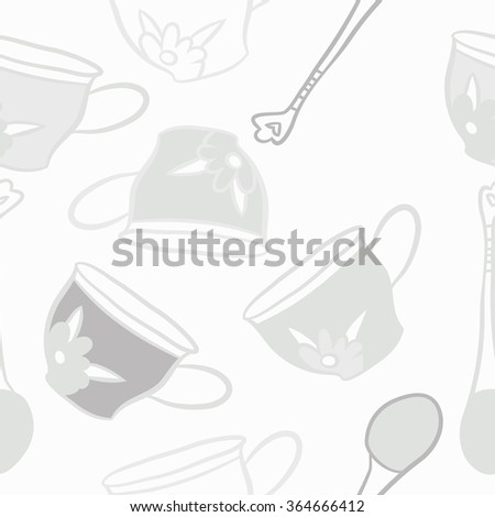 Composition of  seamless pattern, doodles, caps, teaspoons,leaves,spots, floral ornament, hole. Hand drawn. #364666412