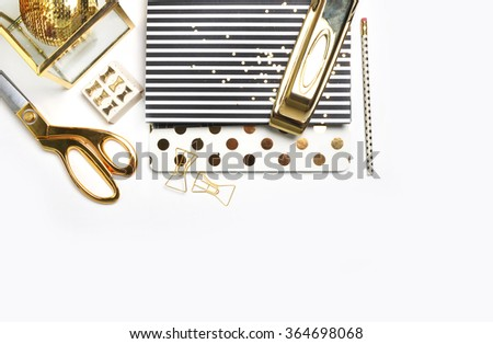 White Desktop. Header website or Hero website, Mockup product view table gold accessories. stationery supplies. glamour style. Gold stapler. .