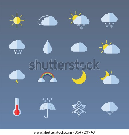 Weather icon set for weather forecasting apps or similar in modern flat colour style #364723949