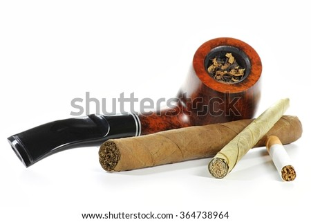 different tobacco products isolated on white background Royalty-Free Stock Photo #364738964