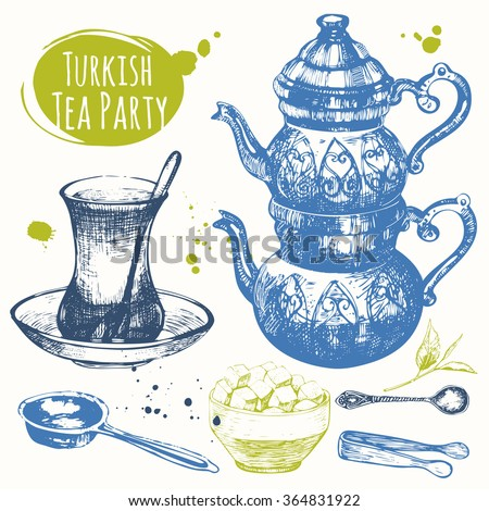 Turkish ethnic and national traditions of tea ceremony.  Decorative elements for your design. Vector Illustration with party symbols on white background.