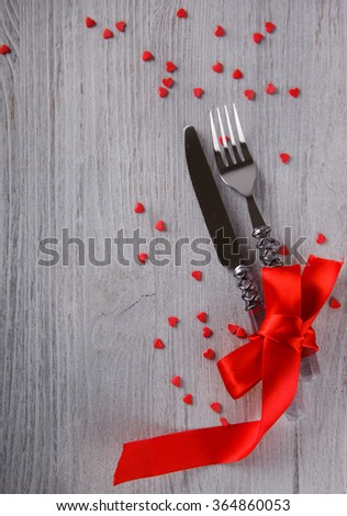 Romantic holiday Valentines day, table setting, on wooden background.selective focus. #364860053
