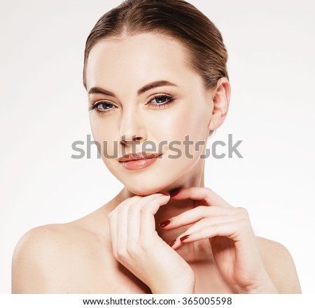 Woman close-up beauty portrait hands touching face on white background  #365005598