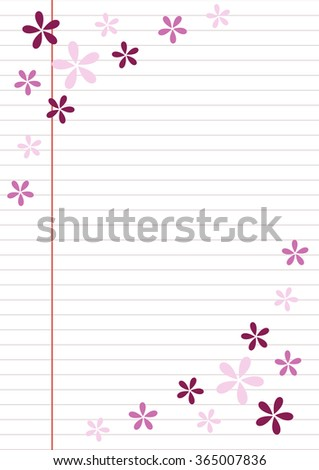 Raster blank for letter or greeting card. Paper of notebook, white form with lines, and colorful flowers. A4 format size. #365007836