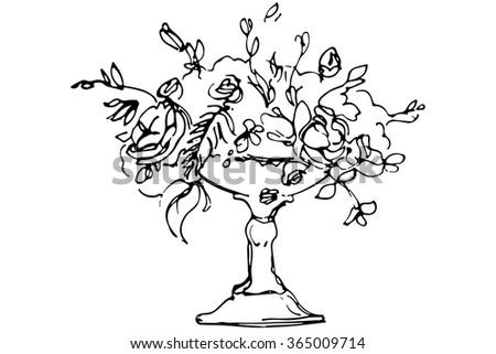 black and white vector sketch of a bouquet of roses in a crystal vase #365009714