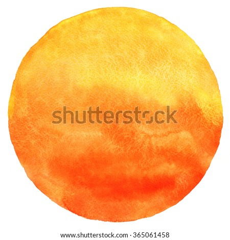 Watercolor sun isolated on white background. Sunset or rising sun illustration. Fire, tropical, flame colors round shape with watercolour stains. Orange, red and yellow circle with uneven edges.