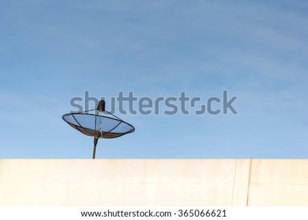 black antenna communication satellite dish. #365066621