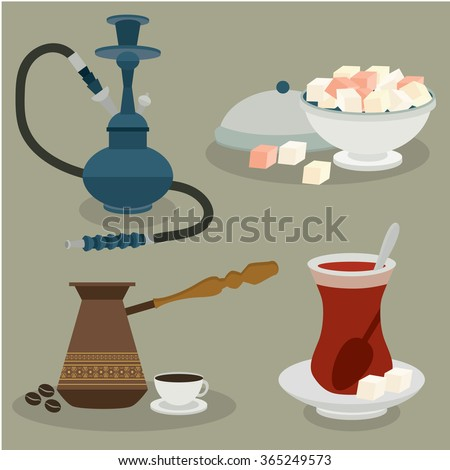 Turkish sweets, coffee, tea and hookah.  Turkey. Vector set