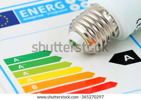 Energy efficiency concept with energy rating chart #365270297